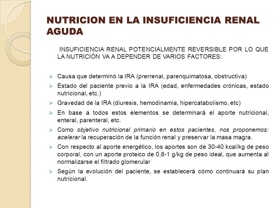 NUTRICION EN LA INSUFICIENCIA RENAL AGUDA INSUFICIENCIA RENAL POTENCIALMENTE REVERSIBLE POR LO QUE LA NUTRICIÓN VA A DEPENDER DE VARIOS FACTORES: Caus