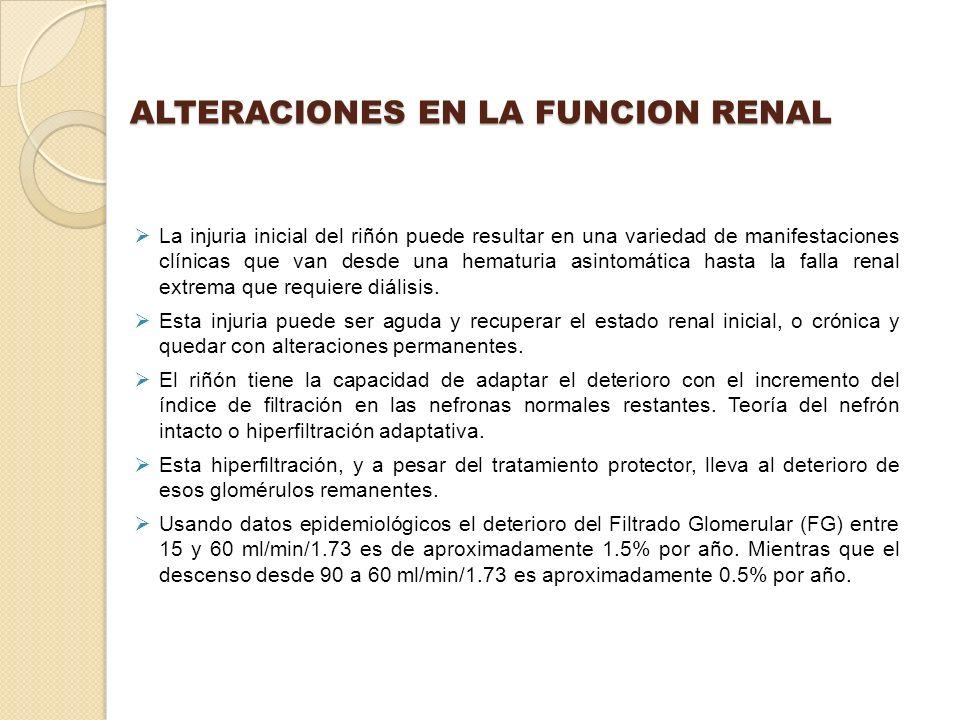 ALTERACIONES EN LA FUNCION RENAL La injuria inicial del riñón puede resultar en una variedad de manifestaciones clínicas que van desde una hematuria a