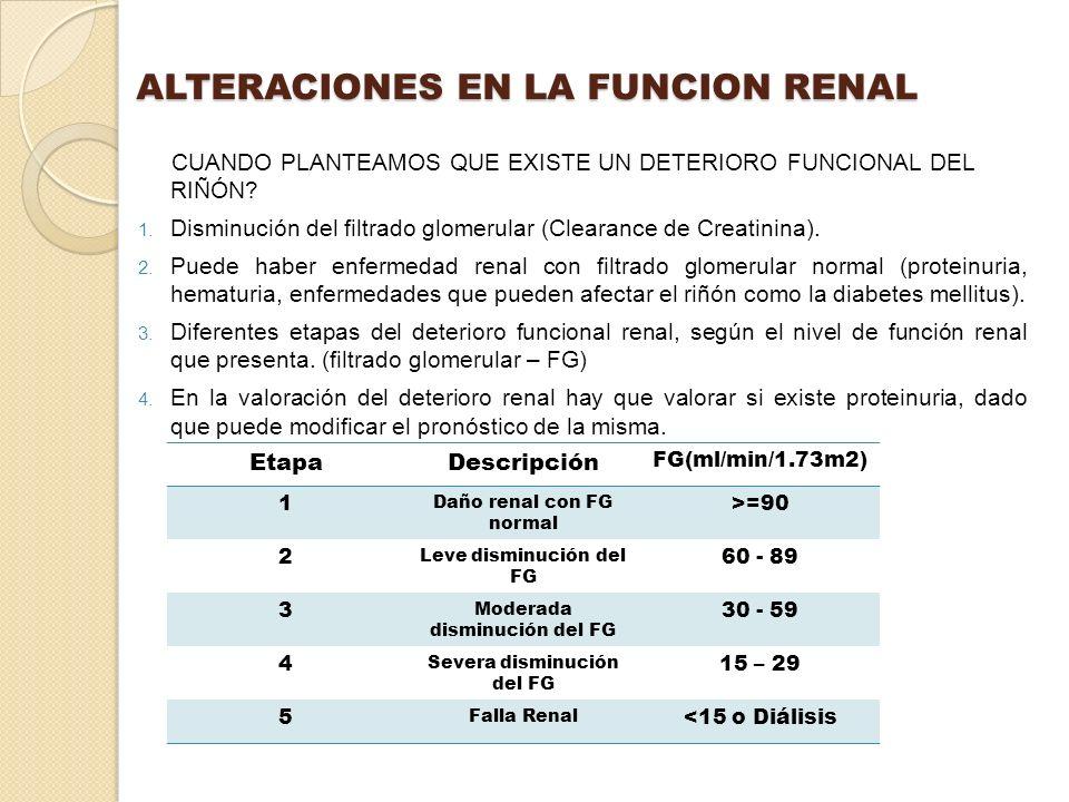 ALTERACIONES EN LA FUNCION RENAL CUANDO PLANTEAMOS QUE EXISTE UN DETERIORO FUNCIONAL DEL RIÑÓN? 1. Disminución del filtrado glomerular (Clearance de C