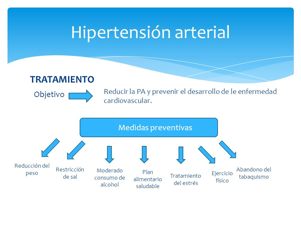 TRATAMIENTO Objetivo Hipertensión arterial Reducir la PA y prevenir el desarrollo de le enfermedad cardiovascular.