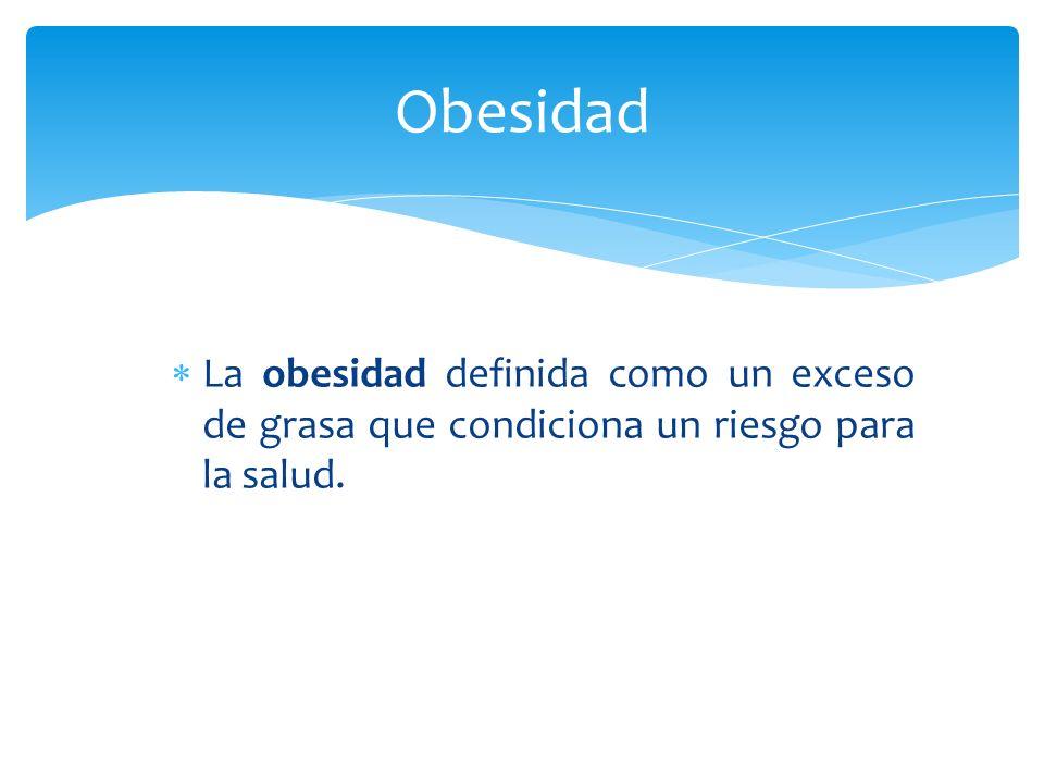 La obesidad definida como un exceso de grasa que condiciona un riesgo para la salud. Obesidad