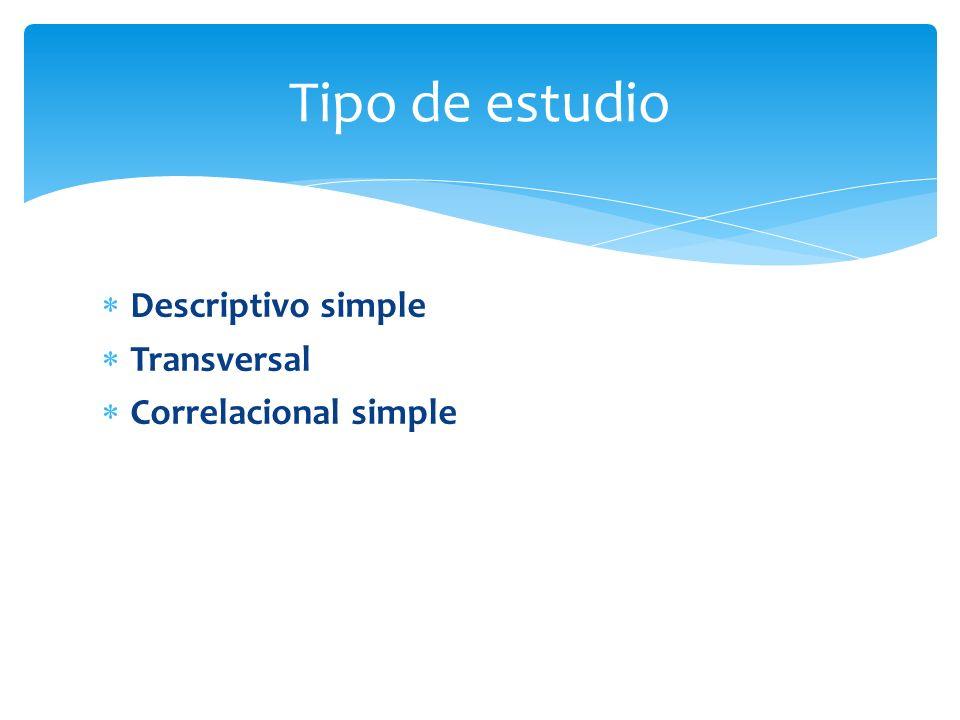 Descriptivo simple Transversal Correlacional simple Tipo de estudio