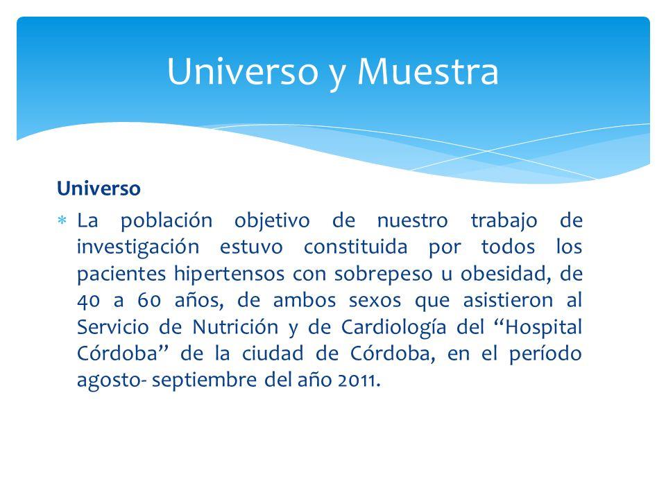 Universo La población objetivo de nuestro trabajo de investigación estuvo constituida por todos los pacientes hipertensos con sobrepeso u obesidad, de 40 a 60 años, de ambos sexos que asistieron al Servicio de Nutrición y de Cardiología del Hospital Córdoba de la ciudad de Córdoba, en el período agosto- septiembre del año 2011.