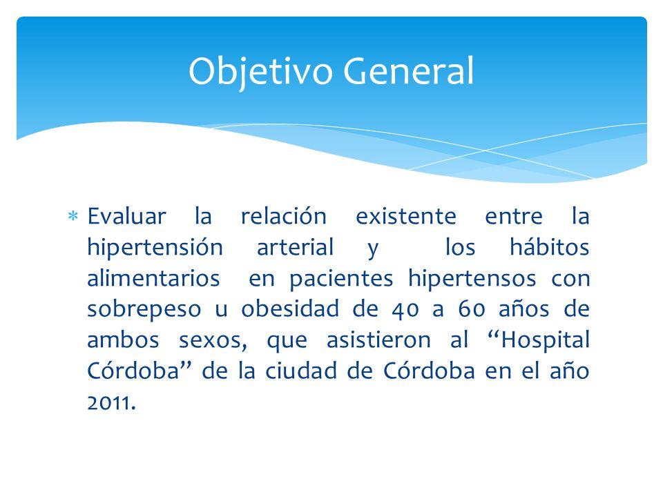 Evaluar la relación existente entre la hipertensión arterial y los hábitos alimentarios en pacientes hipertensos con sobrepeso u obesidad de 40 a 60 años de ambos sexos, que asistieron al Hospital Córdoba de la ciudad de Córdoba en el año 2011.