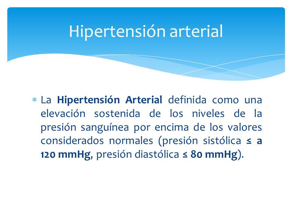 La Hipertensión Arterial definida como una elevación sostenida de los niveles de la presión sanguínea por encima de los valores considerados normales (presión sistólica a 120 mmHg, presión diastólica 80 mmHg).