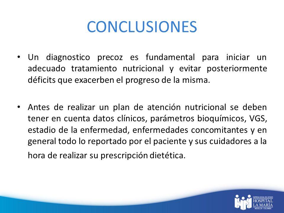 CONCLUSIONES Un diagnostico precoz es fundamental para iniciar un adecuado tratamiento nutricional y evitar posteriormente déficits que exacerben el p