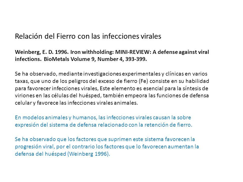 Relación del Fierro con las infecciones virales Weinberg, E.