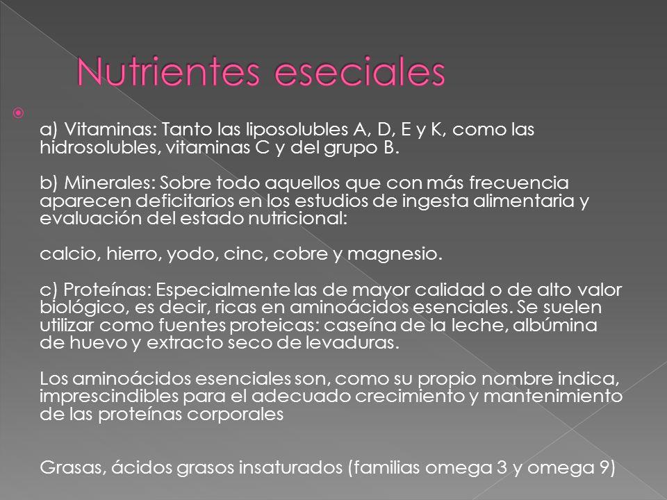 a) Vitaminas: Tanto las liposolubles A, D, E y K, como las hidrosolubles, vitaminas C y del grupo B. b) Minerales: Sobre todo aquellos que con más fre