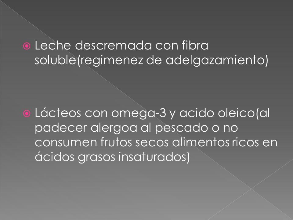 Leche descremada con fibra soluble(regimenez de adelgazamiento) Lácteos con omega-3 y acido oleico(al padecer alergoa al pescado o no consumen frutos