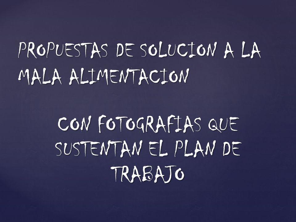 CON FOTOGRAFIAS QUE SUSTENTAN EL PLAN DE TRABAJO PROPUESTAS DE SOLUCION A LA MALA ALIMENTACION