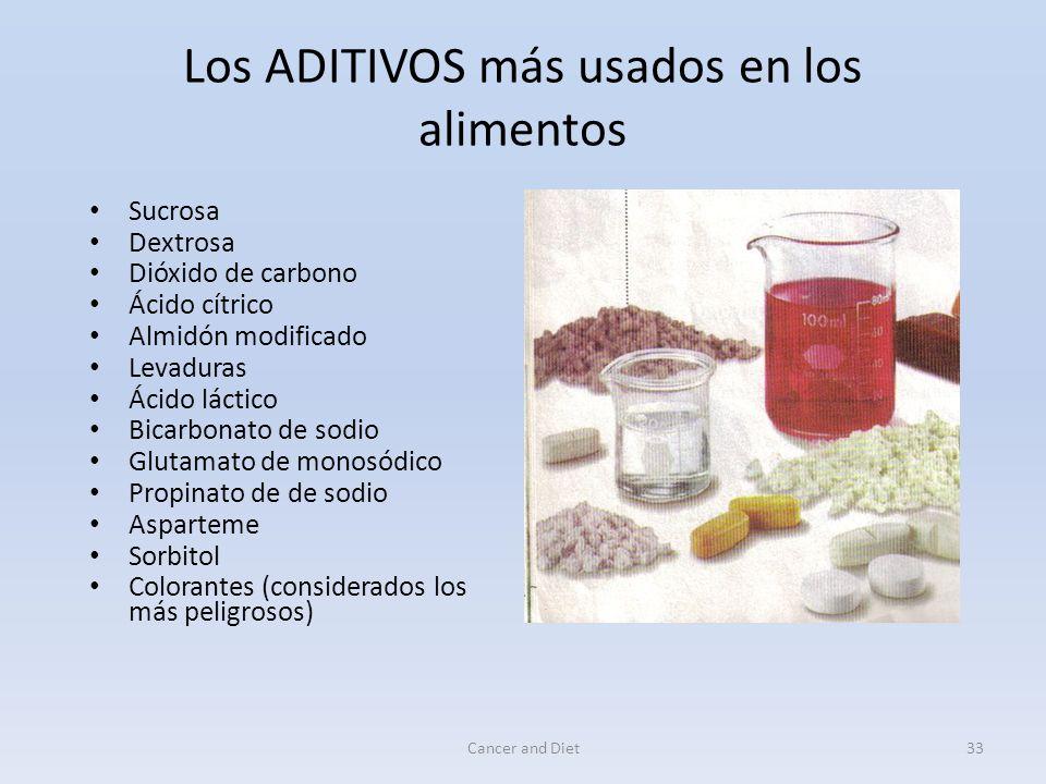 Cancer and Diet32 Peligro a largo plazo Los ADITIVOS se van acumulando poco a poco en el organismo humano.