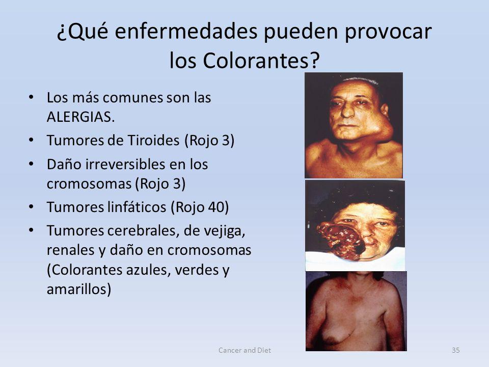 Cancer and Diet34 Los Colorantes Se calcula que un niño, al cumplir los 12 años de edad ya se ha tragado más de 2 kilos de inocentes colorantes.