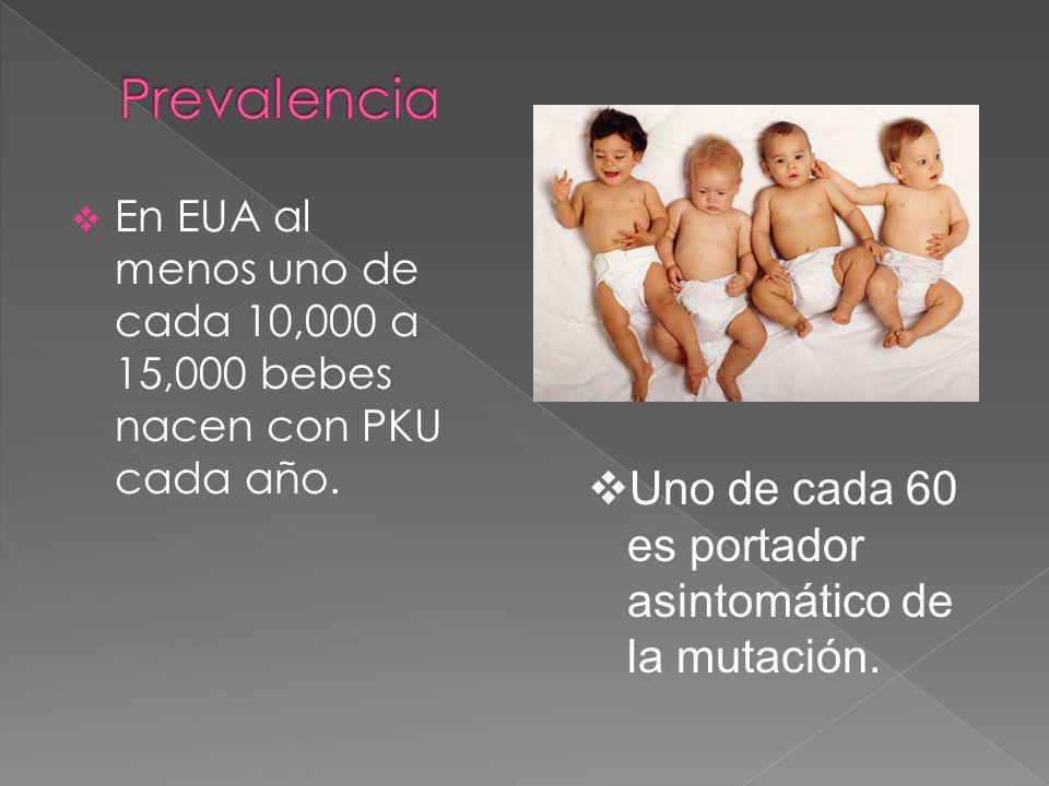 En EUA al menos uno de cada 10,000 a 15,000 bebes nacen con PKU cada año.