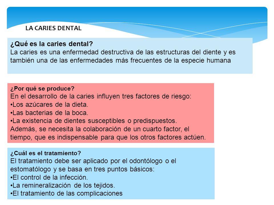 LA CARIES DENTAL ¿Qué es la caries dental? La caries es una enfermedad destructiva de las estructuras del diente y es también una de las enfermedades
