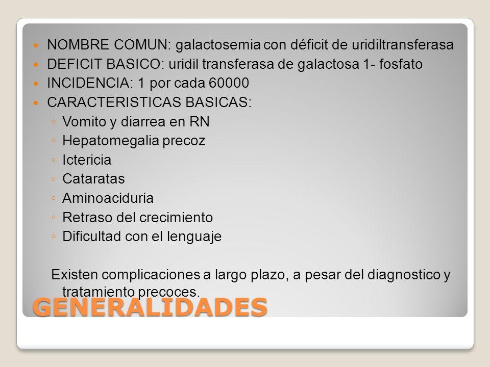 NOMBRE COMUN: galactosemia con déficit de uridiltransferasa DEFICIT BASICO: uridil transferasa de galactosa 1- fosfato INCIDENCIA: 1 por cada 60000 CA