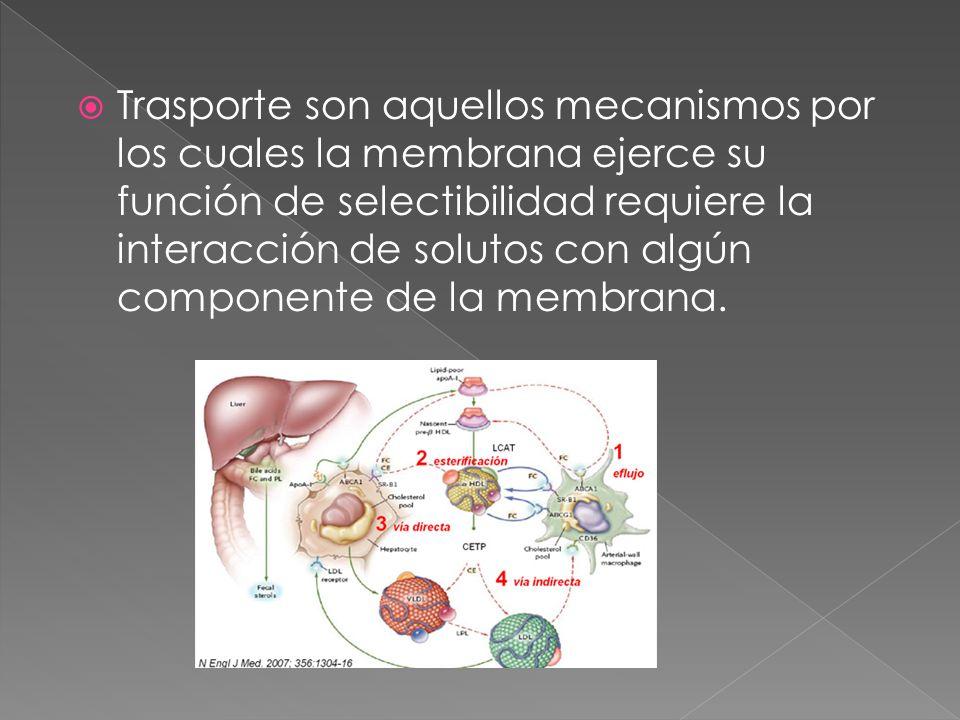 Trasporte son aquellos mecanismos por los cuales la membrana ejerce su función de selectibilidad requiere la interacción de solutos con algún componen