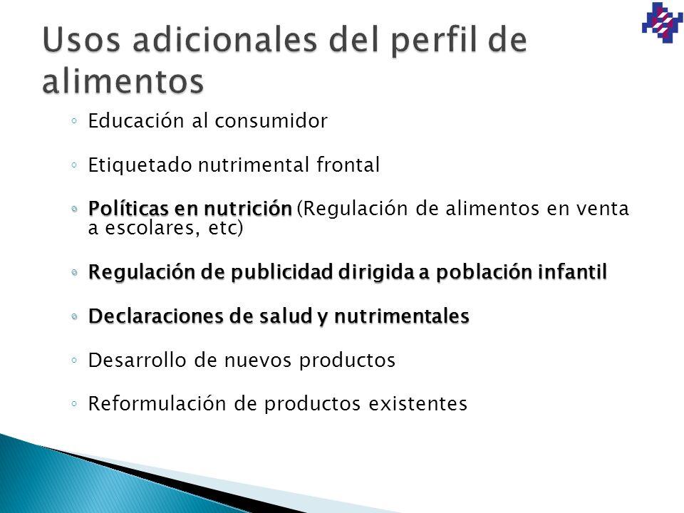 Educación al consumidor Etiquetado nutrimental frontal Políticas en nutrición Políticas en nutrición (Regulación de alimentos en venta a escolares, et
