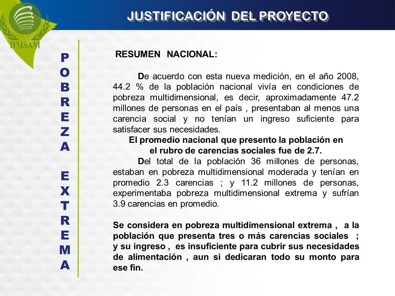 JUSTIFICACIÓN DEL PROYECTO RESUMEN NACIONAL: De acuerdo con esta nueva medición, en el año 2008, 44.2 % de la población nacional vivía en condiciones