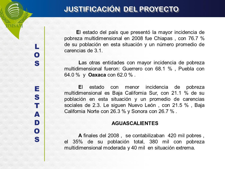 JUSTIFICACIÓN DEL PROYECTO E l estado del país que presentó la mayor incidencia de pobreza multidimensional en 2008 fue Chiapas, con 76.7 % de su pobl
