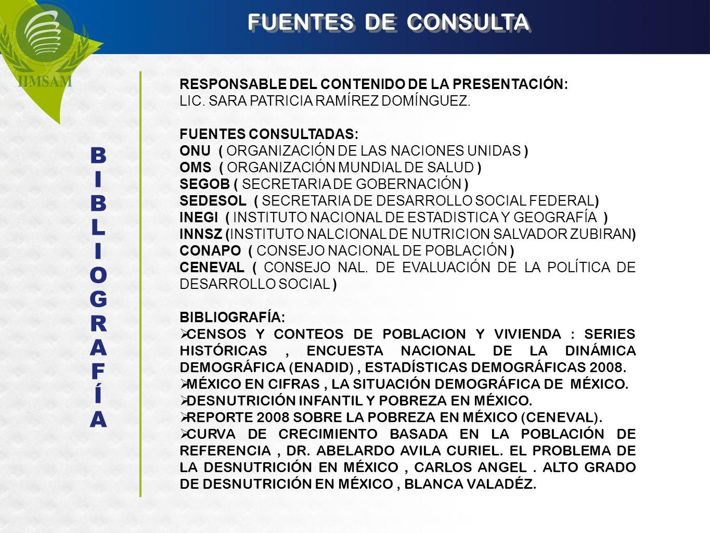 FUENTES DE CONSULTA RESPONSABLE DEL CONTENIDO DE LA PRESENTACIÓN: LIC. SARA PATRICIA RAMÍREZ DOMÍNGUEZ. FUENTES CONSULTADAS: ONU ( ORGANIZACIÓN DE LAS
