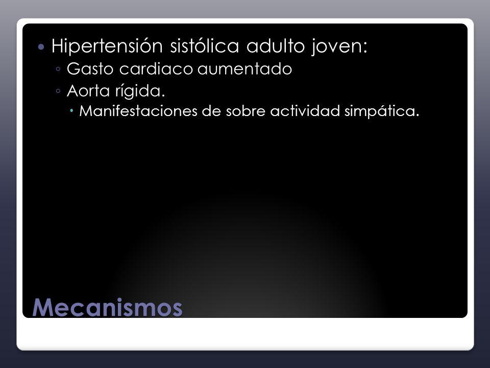 Mecanismos Hipertensión sistólica adulto joven: Gasto cardiaco aumentado Aorta rígida. Manifestaciones de sobre actividad simpática.