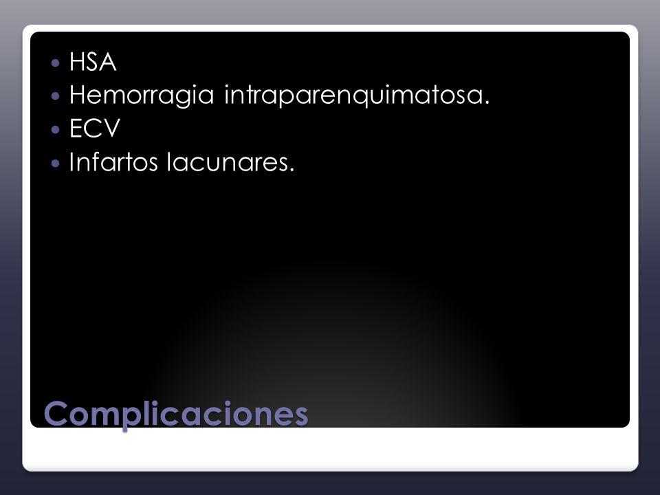 Complicaciones HSA Hemorragia intraparenquimatosa. ECV Infartos lacunares.