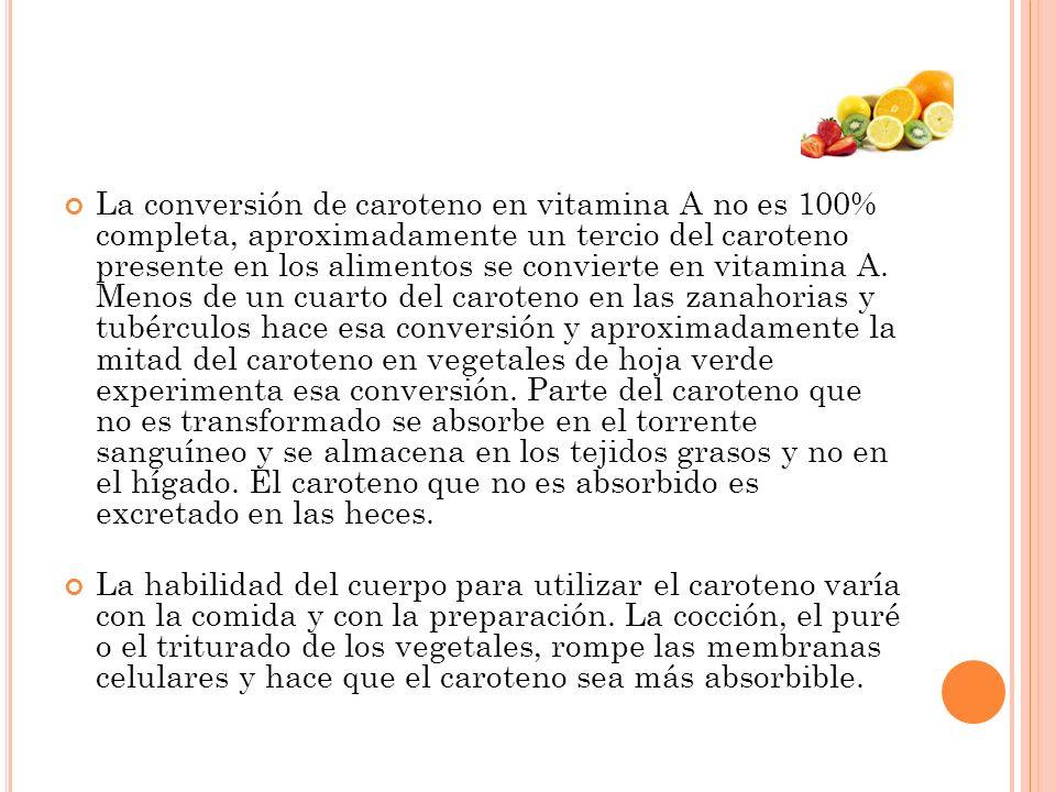 La conversión de caroteno en vitamina A no es 100% completa, aproximadamente un tercio del caroteno presente en los alimentos se convierte en vitamina