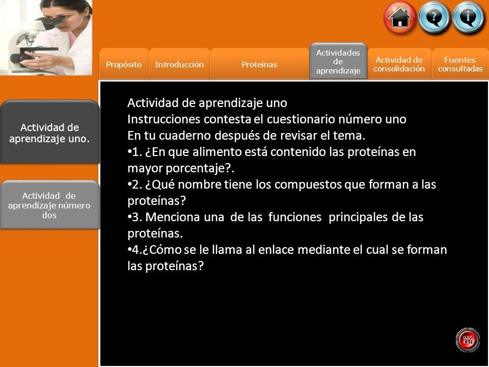 Propósito Introducción Proteínas Actividad de consolidación Actividad de consolidación Fuentes consultadas Fuentes consultadas Actividades de aprendiz