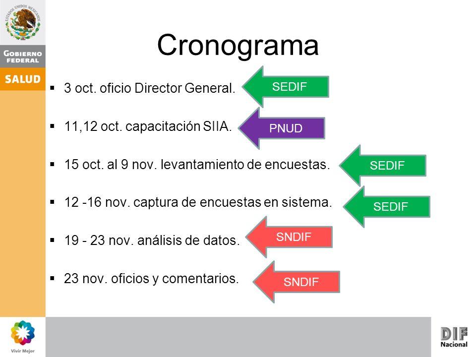 Cronograma 3 oct. oficio Director General. 11,12 oct. capacitación SIIA. 15 oct. al 9 nov. levantamiento de encuestas. 12 -16 nov. captura de encuesta