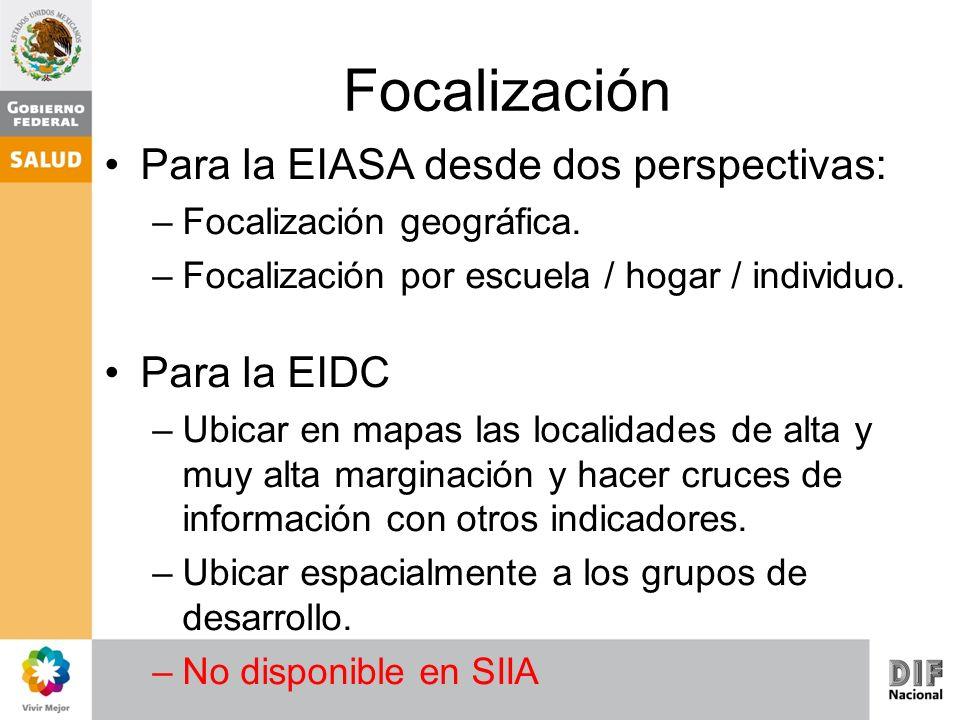 Focalización Para la EIASA desde dos perspectivas: –Focalización geográfica. –Focalización por escuela / hogar / individuo. Para la EIDC –Ubicar en ma