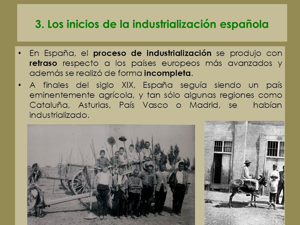 3. Los inicios de la industrialización española En España, el proceso de industrialización se produjo con retraso respecto a los países europeos más a