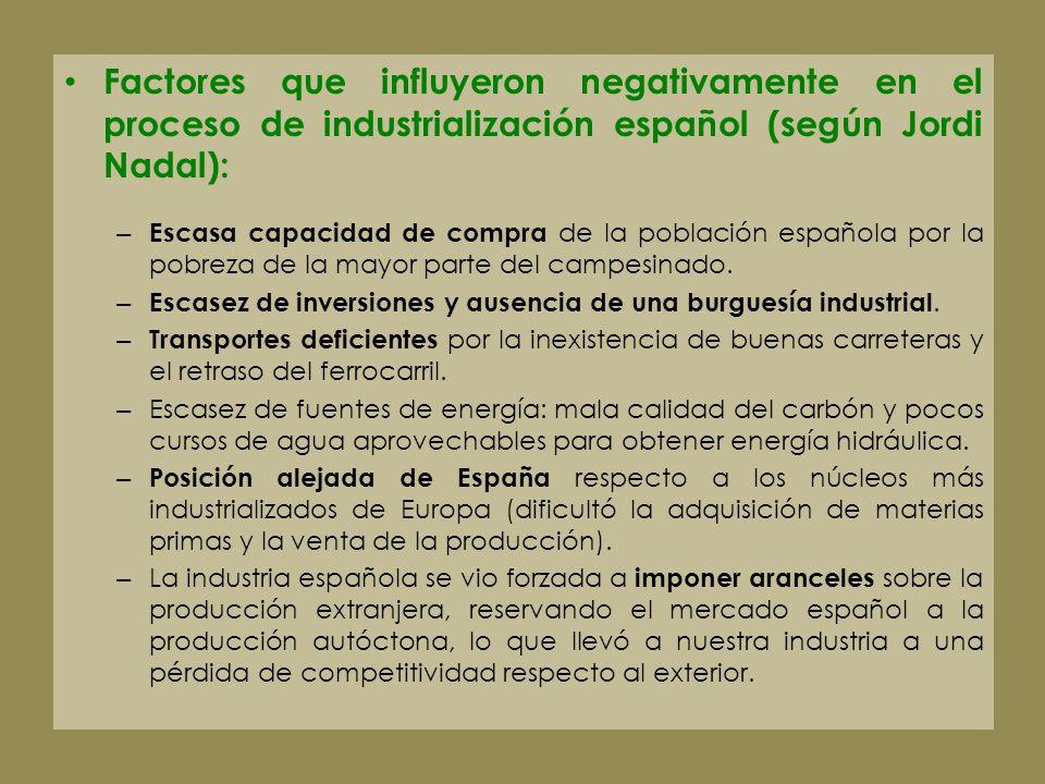 Factores que influyeron negativamente en el proceso de industrialización español (según Jordi Nadal): – Escasa capacidad de compra de la población esp