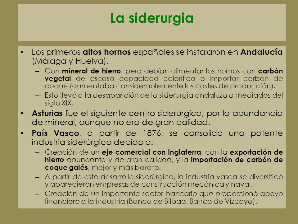 La siderurgia Los primeros altos hornos españoles se instalaron en Andalucía (Málaga y Huelva). – Con mineral de hierro, pero debían alimentar los hor