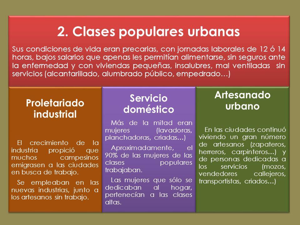 2. Clases populares urbanas Sus condiciones de vida eran precarias, con jornadas laborales de 12 ó 14 horas, bajos salarios que apenas les permitían a