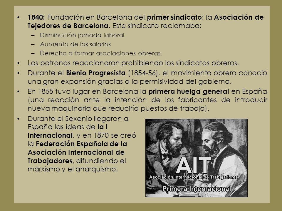 1840: Fundación en Barcelona del primer sindicato : la Asociación de Tejedores de Barcelona. Este sindicato reclamaba: – Disminución jornada laboral –
