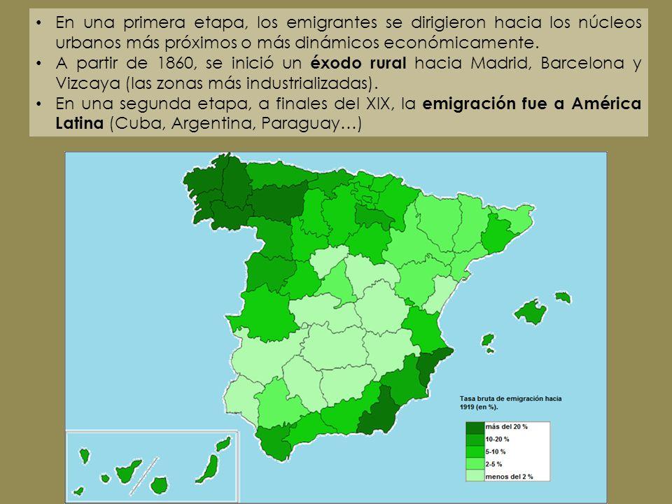 En una primera etapa, los emigrantes se dirigieron hacia los núcleos urbanos más próximos o más dinámicos económicamente. A partir de 1860, se inició