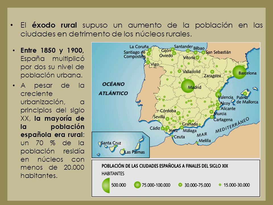 El éxodo rural supuso un aumento de la población en las ciudades en detrimento de los núcleos rurales. Entre 1850 y 1900, España multiplicó por dos su