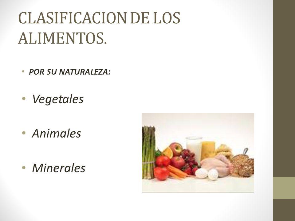 CLASIFICACION DE LOS ALIMENTOS. POR SU NATURALEZA: Vegetales Animales Minerales