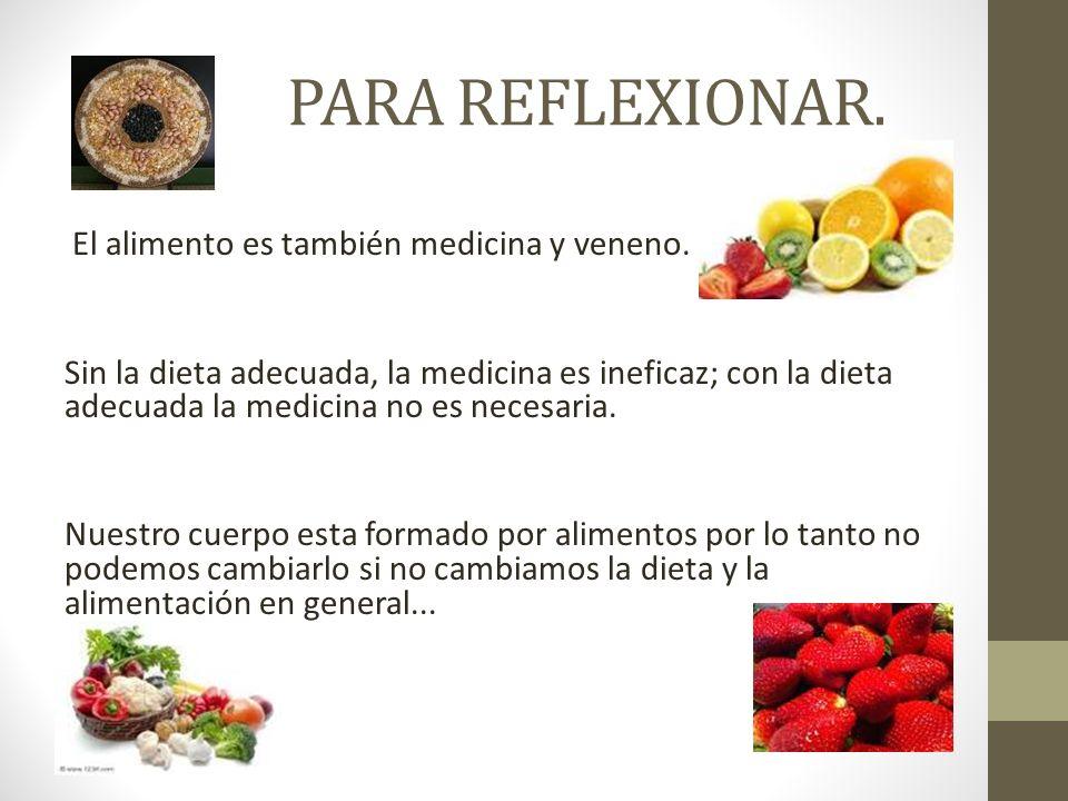 PARA REFLEXIONAR.El alimento es también medicina y veneno.