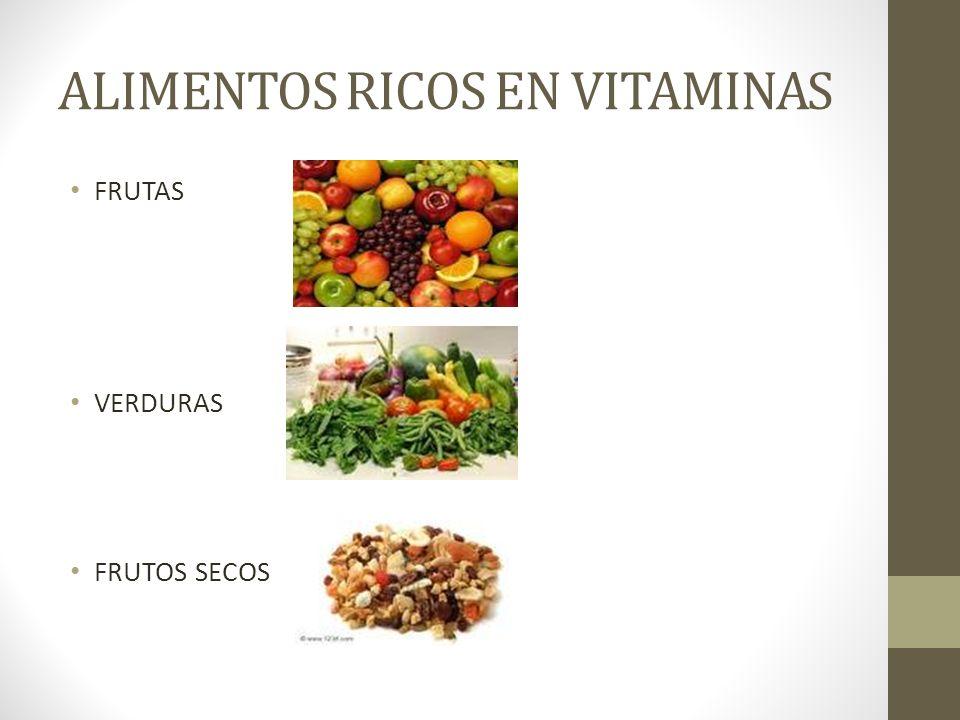 ALIMENTOS RICOS EN VITAMINAS FRUTAS VERDURAS FRUTOS SECOS