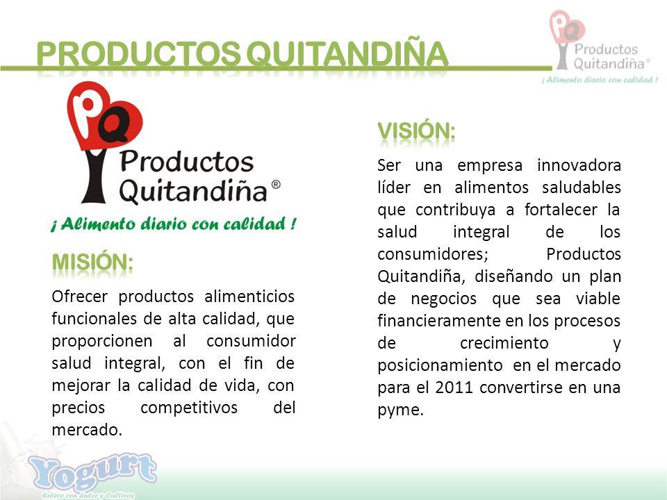 El yogurt probiótico Productos Quitandiña (PQ), es un alimento nutricional 100% natural hecho con: Leche entera pasteurizada, trozos de fruta natural, cultivos probióticos lácteos con BB-12, Azúcar y sabores naturales.