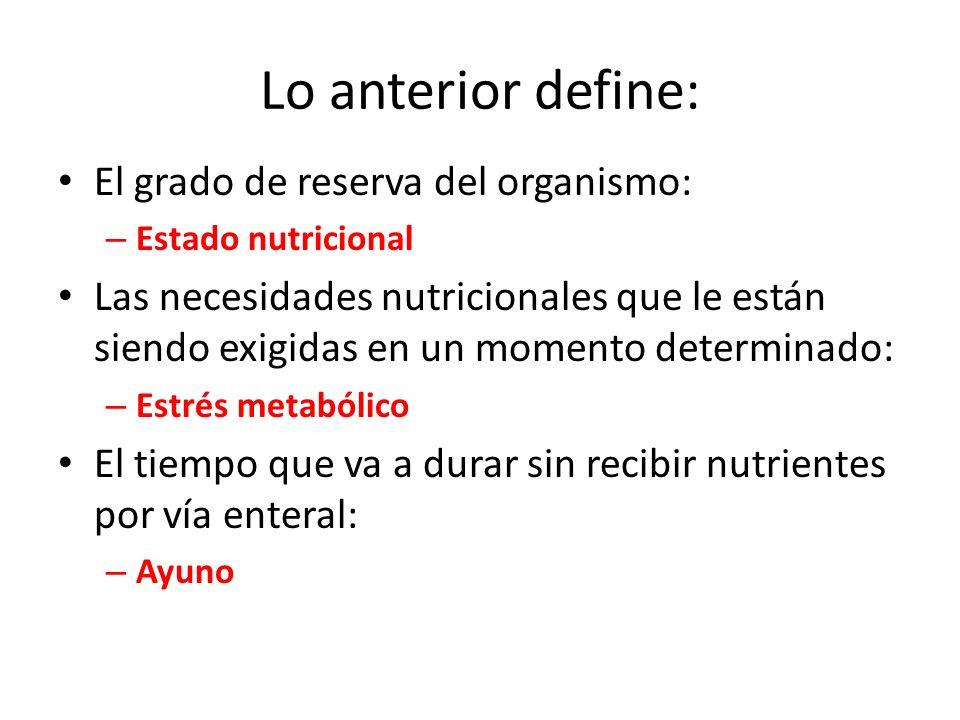 Lo anterior define: El grado de reserva del organismo: – Estado nutricional Las necesidades nutricionales que le están siendo exigidas en un momento d