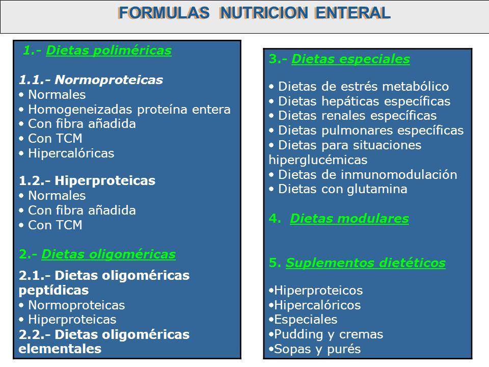 1.- Dietas poliméricas 1.1.- Normoproteicas Normales Homogeneizadas proteína entera Con fibra añadida Con TCM Hipercalóricas 1.2.- Hiperproteicas Norm