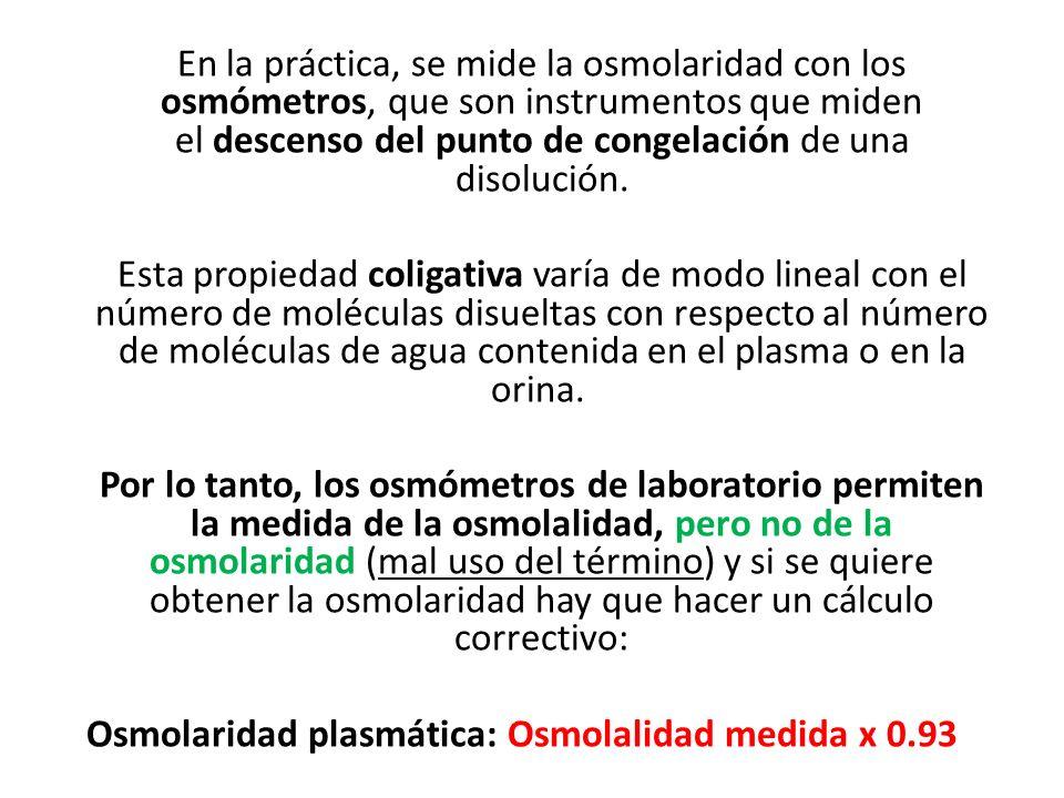 En la práctica, se mide la osmolaridad con los osmómetros, que son instrumentos que miden el descenso del punto de congelación de una disolución. Esta