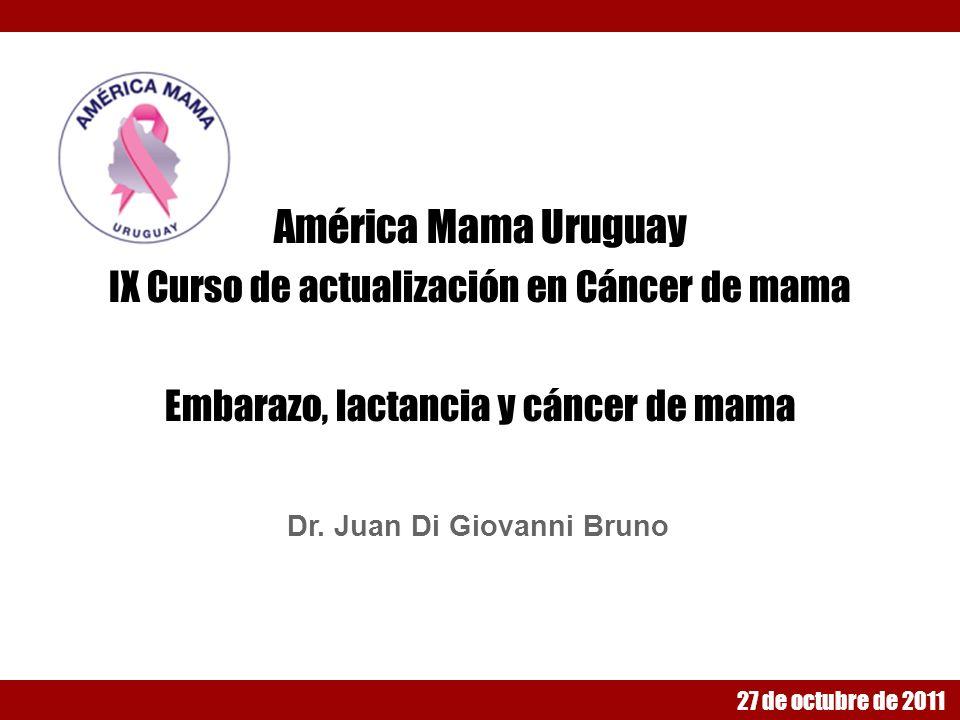 Diagnóstico El diagnostico de CM durante el embarazo es: Clínico: nódulo palpable Imagenologico : Ecografía mamaria Mamografia (con protección fetal) RMN (no emplea radiaciones ionizantes por lo cual es segura para el feto) Citológico : PAAF Histológico : Core biopsia (Re - Rp - Her 2Neu - Ki 67) Carcinoma ductal infiltrante (85%) Lobulillar infiltrante 10% In situ 5%