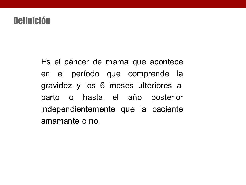 Definición Es el cáncer de mama que acontece en el período que comprende la gravidez y los 6 meses ulteriores al parto o hasta el año posterior independientemente que la paciente amamante o no.