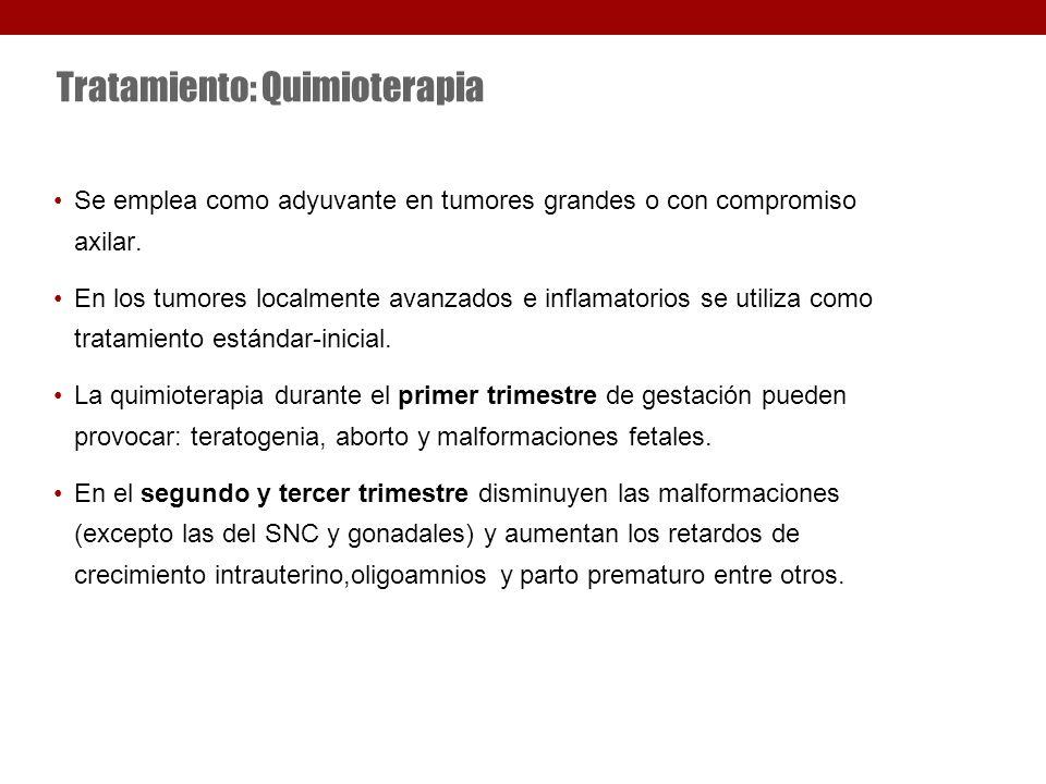 Tratamiento: Quimioterapia Se emplea como adyuvante en tumores grandes o con compromiso axilar.