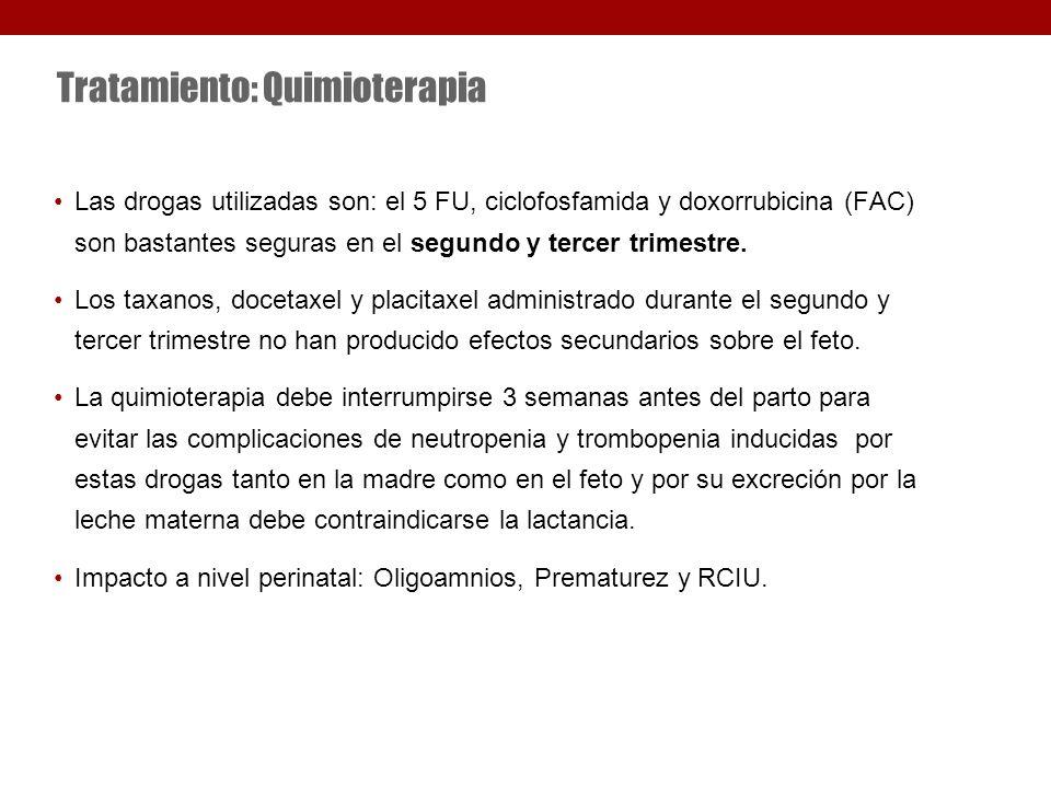 Tratamiento: Quimioterapia Las drogas utilizadas son: el 5 FU, ciclofosfamida y doxorrubicina (FAC) son bastantes seguras en el segundo y tercer trimestre.