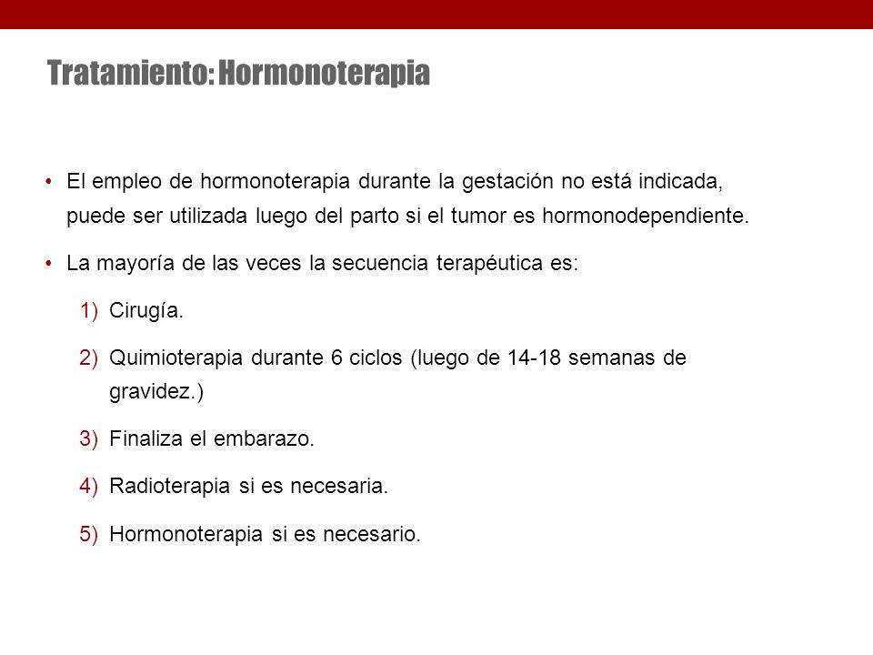 Tratamiento: Hormonoterapia El empleo de hormonoterapia durante la gestación no está indicada, puede ser utilizada luego del parto si el tumor es hormonodependiente.