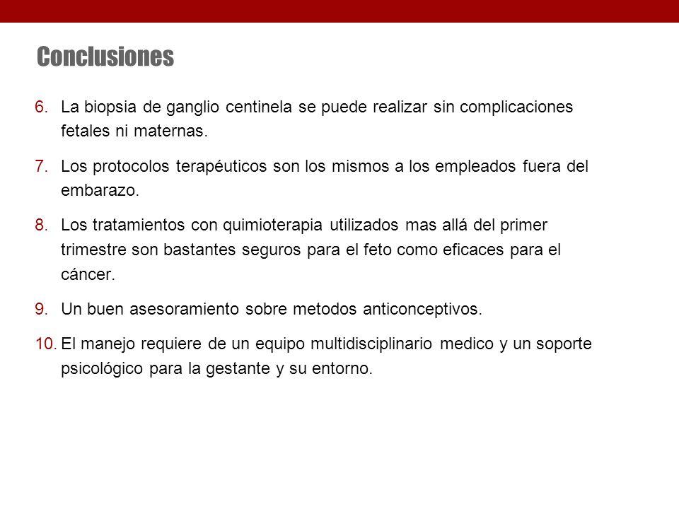 Conclusiones 6.La biopsia de ganglio centinela se puede realizar sin complicaciones fetales ni maternas.
